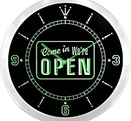 NEWEST We're OPEN Cafe Shop Bar Pub Neon Sign LED Wall Clock