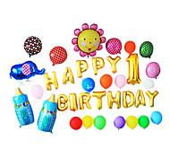 Golden Happy Birthday Cartoon Blue Feeding-bottle Aluminium Membrane Baby Shower Balloon Set