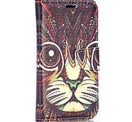 motif de chat style tribal portefeuille de style stand de rabat magnétique pc + étui en cuir PU pour Huawei Ascend Y330