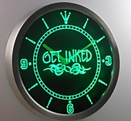 nc0303 Get Inked Tattoo Shop Neon Sign LED Wall Clock