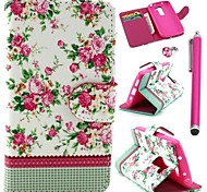 White Floral Pattern PU Leather Cover and Touch Pen with Diamond Dust Plug for LG G2 MINI