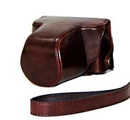dengpin® Leder abnehmbarer Schutzabdeckung Kamera Tasche mit Schultergurt für Pentax Q10 5-15 mm Zoom-Objektiv