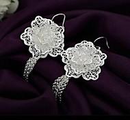 Frauen lange silberne Ohrringe Mode-Klassiker Kupfer Ohrringe