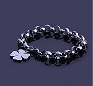 Men's Fashion Personality Titanium Steel Manual Clover Bracelets