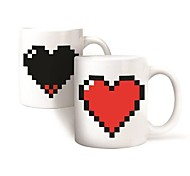 Magic Heat Activated Mug Pixel Heart Morphing Color Changing Coffee Cup