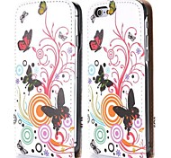 Butterfly and Circle Fashion Vertical Style Magnetic Flip PC+PU Leather Case for iPhone 6