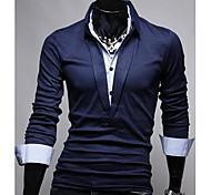 estilo coreano delgado colore puro manga larga camisa de polo de los hombres