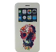 Oil Painting Scrub Pattern PU Leather Cover with View Window for iPhone 6 Plus