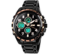 Men's Multi-Functional Digital Dial Steel Band Quartz Analog Wrist Watch (Assorted Colors)