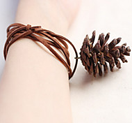 Fashion Nature Pine Cone Pandent Wax Cord Charm Bracelet(1 Pc)