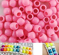 Approx 100PCS 8x9MM Pink Pearlescent Pony Beads For Rainbow Loom Bracelet DIY Accessories