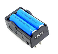 2pcs 18650 3.7V-4.2V 5000mAh Li-ion Battery + 18650 Battery Charger