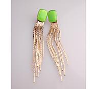 Korea Long Fluorescence Green,Rose Red,Purple Yellow Stud Earrings for Women in Jewelry