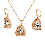 Fashionable Women's Double Triangular Alloy Inlay Crystal Necklace Sets Necklace&Earrings(1Set)