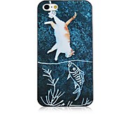 Cat and Fish Pattern Black Frame Back Case for iPhone 4/4S