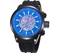 grande orologio quadrante scheletrato fascia del silicone del polso automatico auto vento degli uomini (colori assortiti)