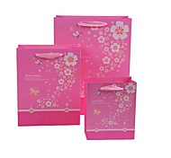 Coway 3pcs Peach Red Paper Bags and Beautiful Party Paper Gift Bag Set