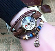 Women's Retro High Quality Small Lock Leather Quartz Movement Bracelet Watches