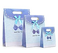 Coway 3Pcs Blue Bow Buckle Bags of Fresh Fashion Party Paper Gift Bag Set