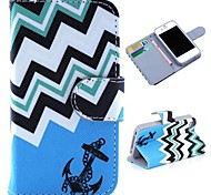 Blue Waves and Anchor Pattern Wallet Style Flip Stand TPU+PU Leather Case for iPhone 4/4S