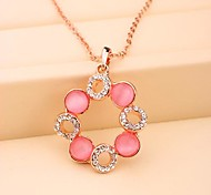 Fashion Pink Opal Round Korea Necklace for Women In Jewelry