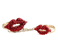 Big&Small Lip Pattern Metal With Full Artificial Diamond Chain Opening Double Ring Joints Rings  (1Pc)