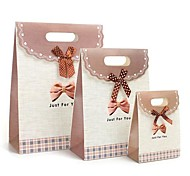 Coway 3Pcs Purple Butterfly Knot Bottom Fastening the Fresh Fashion Party Paper Gift Bag Set