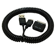 2.5M 8FT 30pin to Female Micro USB Adapter Spring Retractable Charger Data Cable For Samsung Galaxy Tab 10.1 S4 Phone
