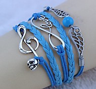 Vintage LOVE infinity symbol skull angel wings 18cm Unisex  Leather Wrap Bracelet(1 Pc)
