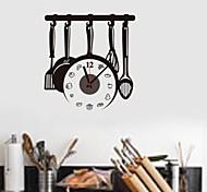 zooyoo® horloge de batterie électronique bricolage outils de cuisine sticker mural mur de backround d'horloge décoration pour la chambre