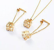 Fashion Titanium Steel Hollow Out Butterfly Box CZ Diamond Inside (Necklace&Earrings) Jewelry Set