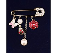 Fashion Pearl Butterfly Flower Gold Plated Brooch for Women In Jewelry