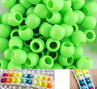 Approx 100PCS 8x9MM Light Green Pearlescent Pony Beads For Rainbow Loom Bracelet DIY Accessories