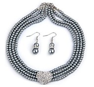Three Rows With Full Artificial Diamond  Imitation Pearl Necklace&Earrings Set(1set)