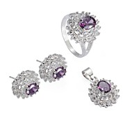 Fashion Silver Plated Copper Zircon (lncludes Earring Ring and Pendants) Jewelry Set