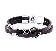 estilo punky tres círculos pulsera de cuero de aleación de plata (1 pc)