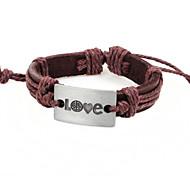 2015 Fashion Love Alloy Bracelet Peace Really Leather Bracelet