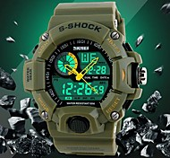 Men's Military Design Multifunctional Dual Time Zones Rubber Band Sporty Wrist Watch
