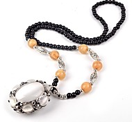 Korean Style Sweater Chain Opal Fashion Vintage Long Pendant Necklace