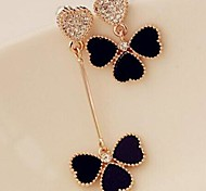 Love Is Your Delicate Peach Heart Set Auger Asymmetric Clovers Stud Earrings