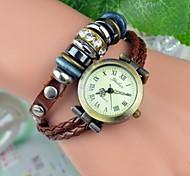 Women's Fashion Rivet Diamond Leather Bracelet Watch