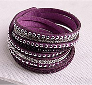 Leather Bracelets Twice New Arrivals Popular Copper Piece Diamond Dark Purple boots