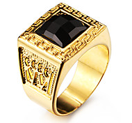Famous Black Square Maze 18K Gold Plated Stainless Steel Men's Ring
