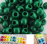 Approx 100PCS 8x9MM Dark Green Pearlescent Pony Beads For Rainbow Loom Bracelet DIY Accessories