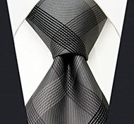 мужской деловой шелк серый в клетку галстук