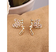 Fashion Korea Champagne Angel Alloy Stud Earrings for Women in Jewelry