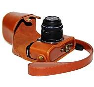 couro dengpin® câmera caso capa protetora da bolsa com a pele óleo de alça de ombro para pen olympus lente 14-42 mm e-p5