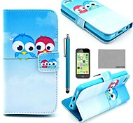 COCO FUN® Cute lovely Owl Pattern PU Leather Full Body Case with Screen Protector for iPhone 5C