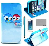 COCO FUN® Cute lovely Owl Pattern PU Leather Full Body Case with Film, Stand and Stylus for iPhone 5/5S