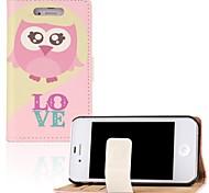 rosa Herz-Eule-PU-Leder Ganzkörper-Fall mit Standplatz und Kartensteckplatz für iPhone 4 / 4S